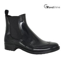 Women′s Fashion Black Cool PVC Riding Rain Boot