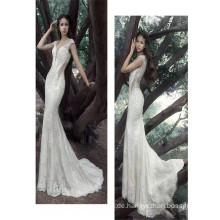 2017 Wunderschöne Spitze Appliqued Sleeveless tiefe V-Ausschnitt sehen durch zurück weiße Meerjungfrau anmutige Hochzeitskleid