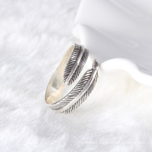 925 sterling silver cuff black leaves men's ring