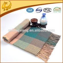Classical Plaid Yarn Dyed Acrylic Throw Blanket Custom With 10cm Tassel