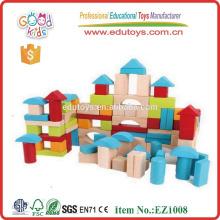 EZ1008 EN71 Approved 100pcs Colorful Printed Wooden Toy Blocks for kids