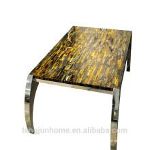 Желтый тигровый глаз CANOSA с длинным чайным столом из нержавеющей стали
