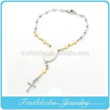 TKB-B0086 Fábrica Nuevo Artículo Chapado en oro Cuentas de Plata Polaca Cruzada Enlace Religiosa Virgen María Accesorios de Acero Inoxidable Bracele