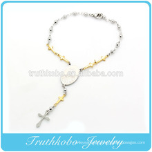 TKB-B0086 Factory New Item Gold Plated Cross Polish Silver Beads Link Religious Virgin Mary Accessories Stainless Steel Bracele