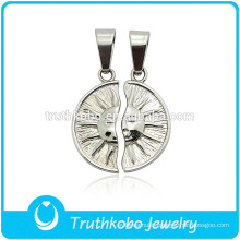 """TKB-JP0164 """"You're always my sunshine """" unique sun god couple jewelry stainless steel lovers pendant"""