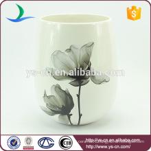 YSwb0010-02 Elegance decal ceramic bath waste bin Factory