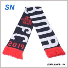 Bufanda hecha punto jacquard de encargo del fútbol de la bufanda del fútbol de la bufanda de la fan de la fábrica