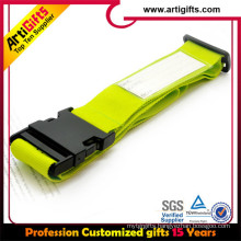 Polyester tube lanyard luggage tag with clear silicon strap