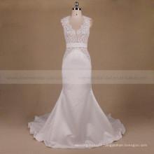 Latest bold model wide strap lace sexy back mermaid long train satin wedding dress