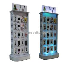 Kundenspezifische Design Holzrahmen Metall Haken Handy Ladegerät Display Mobile Zubehör Akku Display