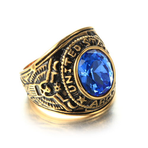 Zircon Stone US Military Sailor Ring for Men