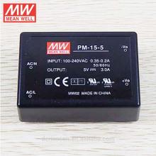 Tipo médico tipo da fonte de alimentação do interruptor do MeanWell CA / CC - tipo encapsulado a bordo do tipo 15W 5V da única saída PM-15-5
