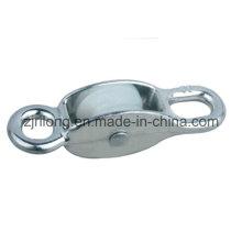Dos poleas de aleación de zinc de gancho con una sola rueda de nylon