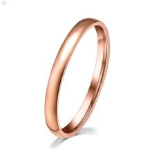 Banda de casamento de noivado de mulheres rosa de ouro midi fina anel de aço inoxidável