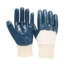 NMSAFETY Blue nitrile gloves with jersey liner work gloves for heavy duty hand gloves manufacturers in china