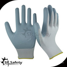 SRSAFETY 13 gauge knitted nylon coated grey normal foam nitrile gloves,breathable safety work