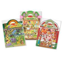 Benutzerdefinierte kreative Princess Farm Safari Pirate wiederverwendbare geschwollene Aufkleber Spiel Sets