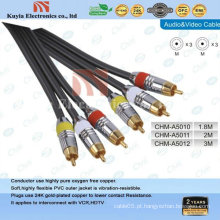 GOLD-chapeado 3 RCA componente cabo AV para cabo de áudio e vídeo de 1,5 m.