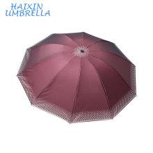 Nigeria Cheap Manual Open Ladies Gentlemen India Market 3 Folding Umbrella 10 Ribs Promotional UV Protective Umbrellas For Sale