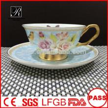 PT porcelana fábrica Bone China café conjunto, copo e pires