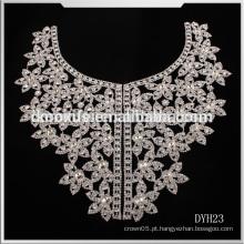 Último Shinning Crystal Rhinestone trim Applique / cristal colar de acabamento para o laço do vestido de casamento