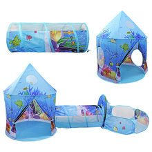 Child outdoor tent garden Auto Starter play house 3pc Ocean World Kids Play Tent with ball pit Tunnel Toddlers Play Castle