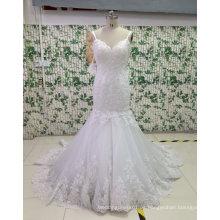 Espaguetis correas de espalda baja sirena vestido de novia