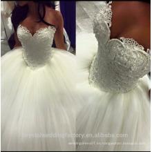 Full Perlas Puff Ball vestido de novia con el escote de amor 2016 nuevos vestidos de boda CWF2383
