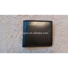 Carteira de fibra de carbono de luxo Carteira de couro genuíno