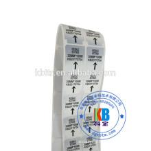 adhesive barcode label sticker type custom blank matt silver PET heat transfer label