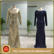 ASAJ-10 Real Pictures Sequined Beaded Scoop Neck Long Evening Dresses with Long Sleeves
