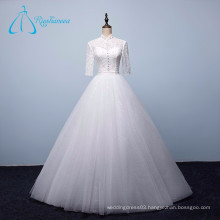 Lace Pearls Sequined Beading Button Pleat Wedding Dresses China