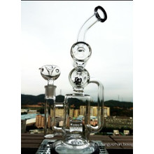 Cyclone Helix Water Pipe Intricate Double Recycler Glass Smoking Pipe Helix Perc Oil Rig Nouvelle Perculateur Rig Sofig Glass Water Pipe Wholesale