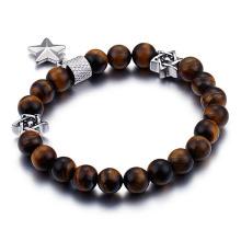 Tigeraugenperle der Männer Stern von David-Armband