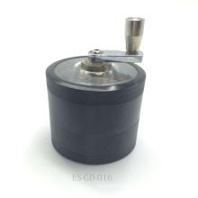 Grinder herbario de aluminio negro portable ligero con la manivela (ES-GD-016)