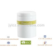 11 * 13cm weiße keramische Kanister mit Silikonband, unterschiedlicher Druck, zum des Inhalts zu reflektieren