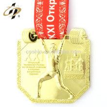 Neues Produkt 10 cm Fall benutzerdefinierte Gewichtheben Running Sports Champion Gold schwer Medaille Medaille Medaille
