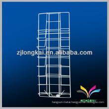 Best quality metal white floor standing display rack for magazine or brochure