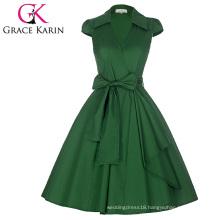 Grace Karin Cap Sleeve Lapel Collar V-Neck Retro Vintage High-Stretchy Green Dress CL008953-6