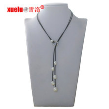 Fashion Cheap Leather Freshwater Pearl Necklace Jewelry for Christmas Gift