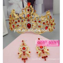 Stirnbänder Kleid dekorative benutzerdefinierte Prinzessin Hochzeit Tiara und Ohrringe gesetzt