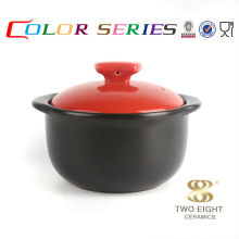 Red and black ceramic stewing small soup pot with cover