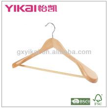 wooden coat hanger with round bar and wide shoulder
