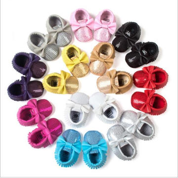 2016 Европа Tassel Bow Bright Trend Baby Princess Shoes