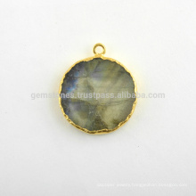Natural Labradorite Slice Gemstone Bezel Charm, Micron Gold Plated Sterling Silver Bezel Connector and Charm Suppliers