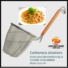 Master class restaurant noodle strainer household carbonara stainer with pothook stainless steel strainers with support handles