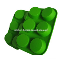 High Quality Cheap Green Eco-friendly Muffin Shape Cake Baking Mold Pan FDA Approved Silicone Microwave Oven Muffin Pan