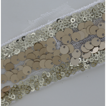 Wholesale high quality luxurious shiny sequin border lace fabric trim