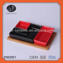 Steingut-Servier-Tablett mit Bambus-Tablett für Resturant, Servier-Sets gesetzt
