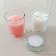 New Product glass holder white filled votive candles wholesale